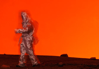 Photographer Carsten Peter walks in a volcano