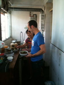 Rindy and Mom cooking in Chengdu