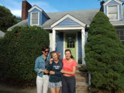 My wife, mother, and aunt, in front of the house